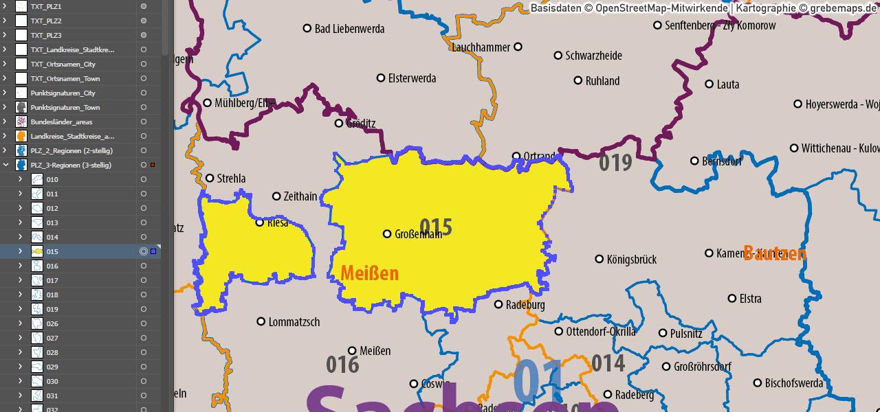 Postleitzahlen-Karte Deutschland PLZ-1-2-3 ebenen-separiert mit Landkreisen Orten Bundesländern Vektorkarte (2019), AI-Datei, download, editierbar