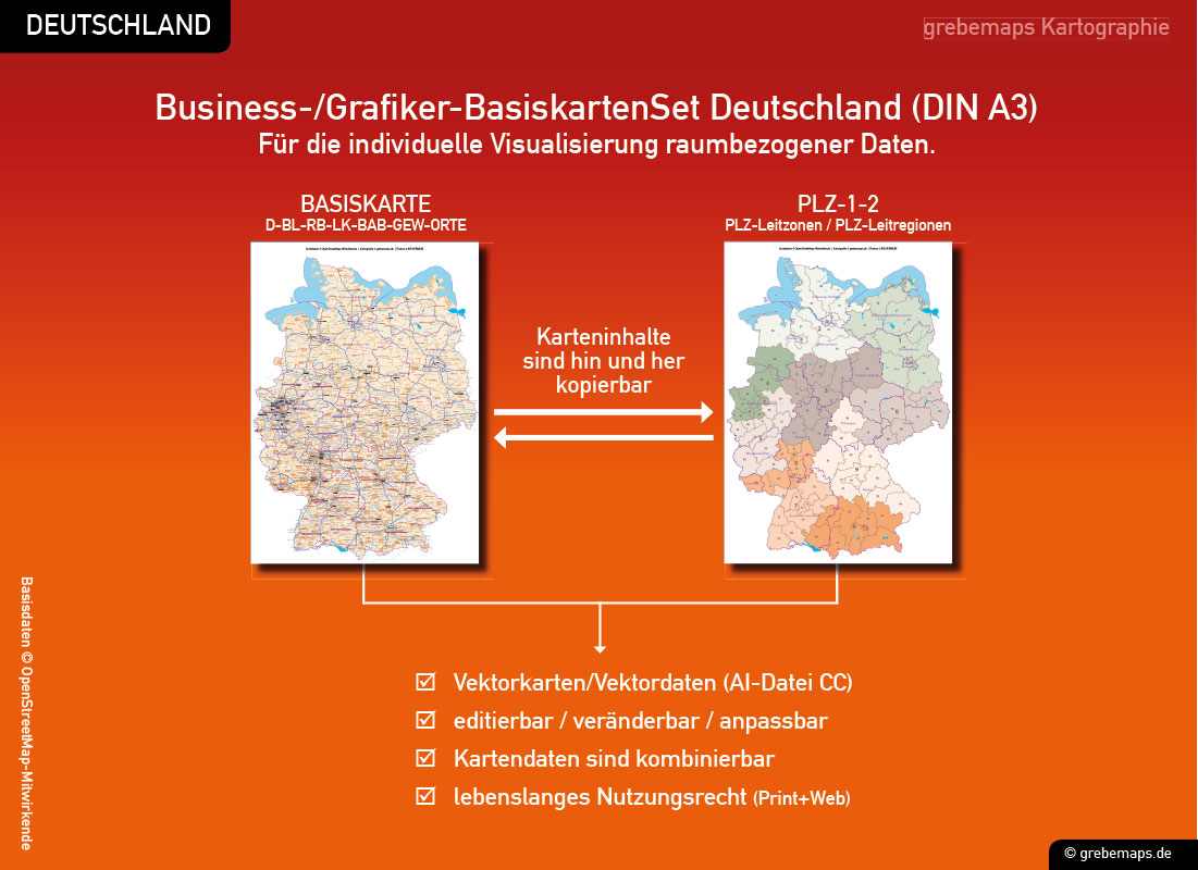 Business-/Grafiker-BasiskartenSet Deutschland Landkreise Autobahnen Orte Postleitzahlen PLZ-1-2 Vektorkarte DIN A3 (2019), Karten-Bundle bestehend aus zwei Deutschlandkarten. Karteninhalte können hin und her kopiert werden.