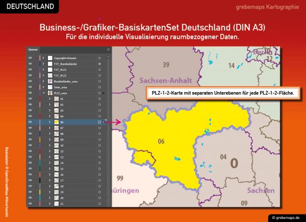 Business-/Grafiker-BasiskartenSet Deutschland Landkreise Autobahnen Orte Postleitzahlen PLZ-1-2 Vektorkarte DIN A3 (2019), Karten-Bundle bestehend aus zwei Deutschlandkarten. Karteninhalte können Sie hin und her kopieren.
