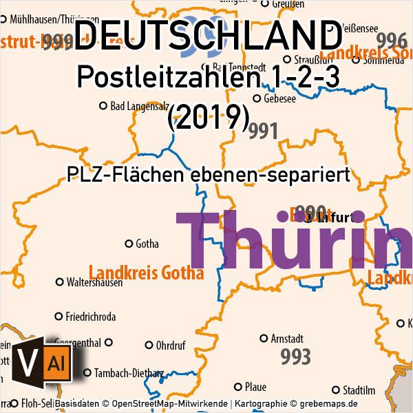 Postleitzahlen-Karte Deutschland PLZ-1-2-3 ebenen-separiert mit Landkreisen Orten Bundesländern Vektorkarte (2019), PLZ-Karte Deutschland 3-stellig, Vektorkarte PLZ Deutschland, AI-Datei, download, editierbar
