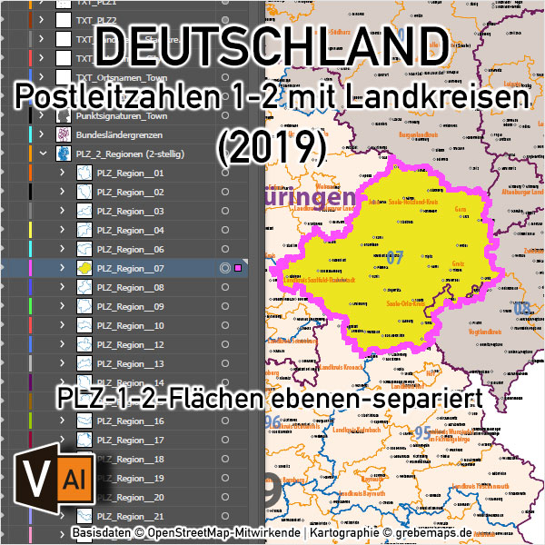 Postleitzahlen-Karte Deutschland PLZ-1-2 mit Landkreisen Bundesländern Orte Vektorkarte (2019),PLZ-Karte Deutschland 2-stellig mit Landkreisen, PLZ-Karte Vektor Deutschland, AI-Datei, editierbar, download, Karte Postleitzahlen Deutschland
