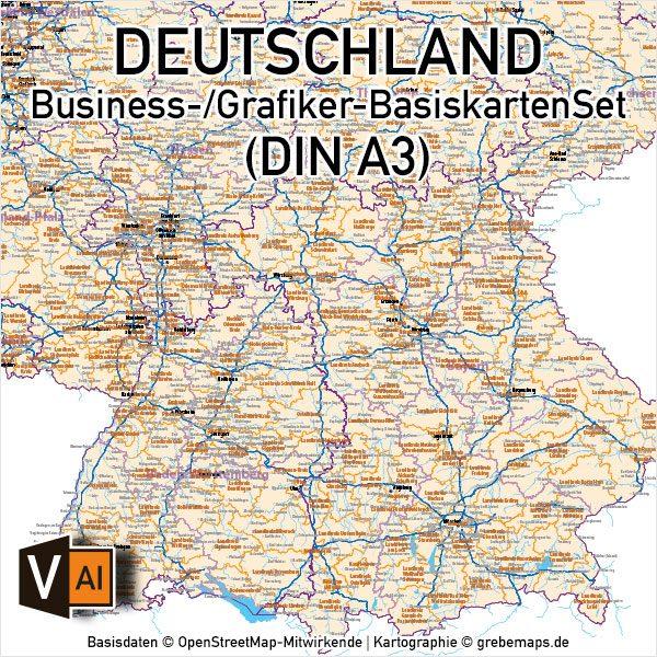 Business-/Grafiker-BasiskartenSet Deutschland Landkreise Autobahnen Orte Postleitzahlen PLZ-1-2 Vektorkarte DIN A3 (2019), Karte PLZ Deutschland 2-stellig, Vektor-Karte PLZ-2 Deutschland, Karte Landkreise Deutschland, AI-Datei, download, editierbar