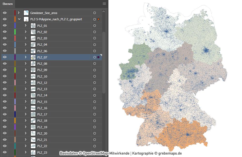 Deutschland Postleitzahlenkarte PLZ-1-2-5 mit Landkreisen Bundesländern Ortsnamen Vektorkarte (2020), Karte PLZ Deutschland, PLZ-Karte Deutschland Vektor, PLZ-5 Karte Deutschland, editierbar, AI, Download