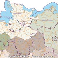 Deutschland Postleitzahlenkarte PLZ-1-2 mit Landkreisen Bundesländern Autobahnen Orte Vektorkarte, PLZ-2-Karte Deutschland, Karte PLZ-2 Deutschland Vektor, AI, download, editierbar, Karte Vektor Deutschland PLZ