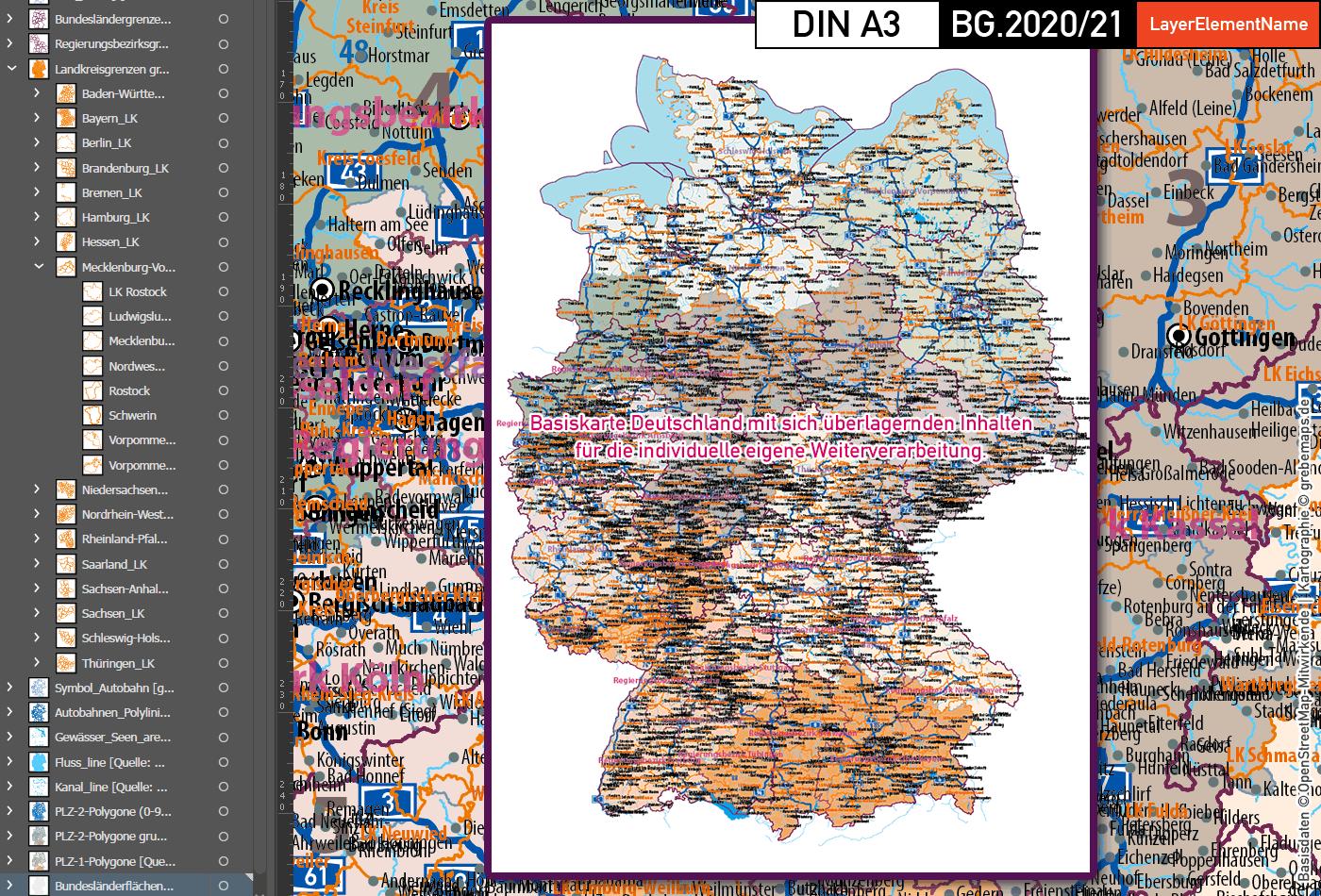 Karte Deutschland Landkreise, Karte Deutschland Postleitzahlen PLZ-1-2, PLZ-Karte Deutschland, Vektorkarte Deutschland Landkreise, Vektorkarte Deutschland PLZ 2-stellig, vector map germany plz, vector map germany illustrator, ai, editierbar, ebenen-separiert, download