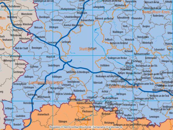Baden-Württemberg Vektorkarte Regierungsbezirke Landkreise Gemeinden Postleitzahlen PLZ-5, Landkarte Baden-Württemberg, Karte Baden-Württemberg PLZ, Karte Baden-Württemberg Gemeinden, Vektorkarte Baden-Württemberg Postleitzahlen, Karte PLZ 5-stellig Baden-Württemberg, download, AI, editierbar, ebenen-separiert