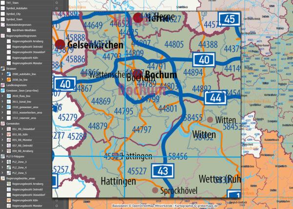 Nordrhein-Westfalen Vektorkarte NRW Regierungsbezirke Landkreise Gemeinden Postleitzahlen PLZ-5, Karte Nordrhein-Westfalen PLZ, Karte Nordrhein-Westfalen Gemeinden, Karte Nordrhein-Westfalen Landkreise, Karte Nordrhein-Westfalen Postleitzahlen, Karte NRW, Landkarte NRW, Karte NRW administrativ AI, download, editierbar, ebenen-separiert