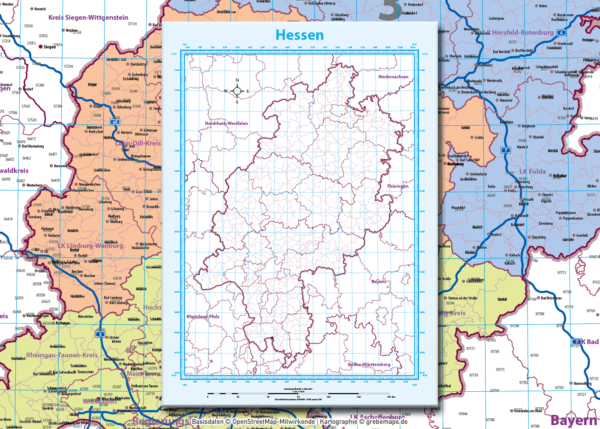 Hessen Vektorkarte Landkreise Gemeinden Postleitzahlen PLZ-5 Autobahnen, Karte Hessen PLZ, PLZ Karte Hessen, Karte Hessen Gemeinden, Karte Hessen Landkreise, Vektorkarte Hessen Postleitzahlen, Karte PLZ 5-stellig Hessen, vector map Hessen, AI, download, editierbar