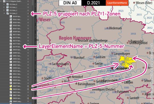 Deutschland Postleitzahlen Karte PLZ-5 BASIC mit Landkreisen Bundesländern Ortsnamen Vektorkarte (2021), PLZ-Karte Deutschland, Vektorkarte PLZ Deutschland, PLZ 5-stellig Deutschland, AI, download, editierbar