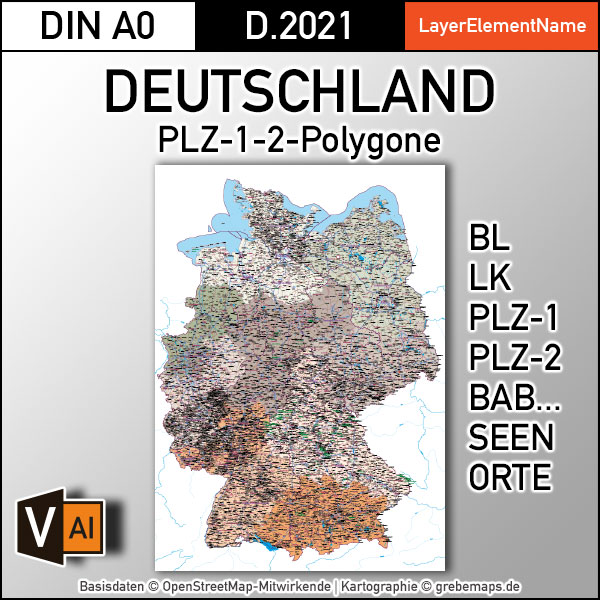Deutschland Postleitzahlenkarte PLZ-1-2 mit Landkreisen Bundesländern Autobahnen Orte Vektorkarte (2021), PLZ-2-Karte Deutschland, Vektorkarte PLZ Deutschland, PLZ Deutschland Vektoren, AI, download, editierbar