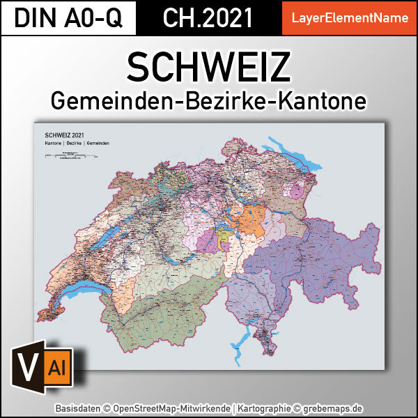 Schweiz Vektorkarte Kantone Bezirke Gemeinden Flüsse Seen Autobahnen (2021), Karte Schweiz Kantone Gemeinden, vector map switzerland, Vektorkarte Schweiz Gemeinden, Landkarte Schweiz, AI, download, editierbar, ebenen-separiert