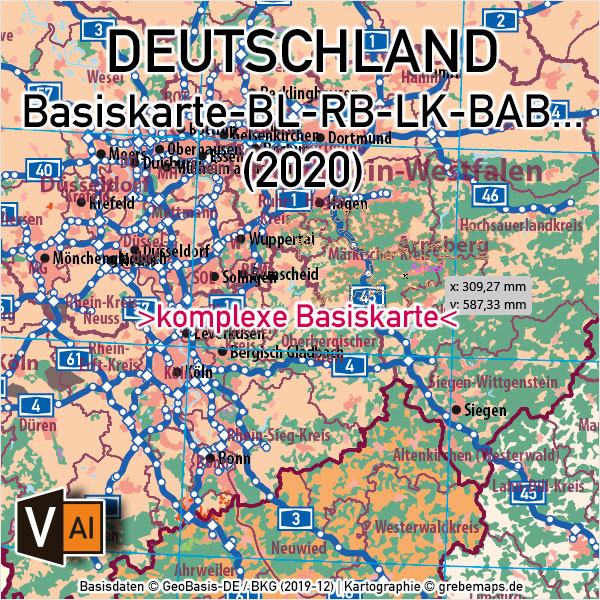 Deutschland Basiskarte Vektorkarte Bundesländer Regierungsbezirke Landkreise Autobahnen, Vektorkarte Deutschland Landkreise, AI-Datei, Illustrator, download, edtierbar, Vektorgrafik, Landkarte Deutschland Landkreise