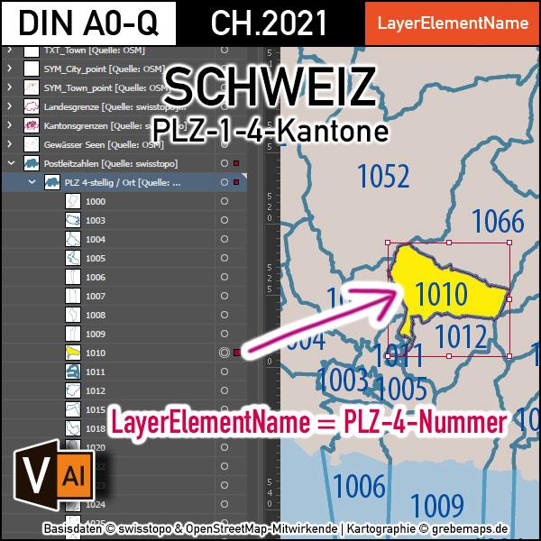 Schweiz Vektorkarte Postleitzahlen PLZ-1-4 Kantone, Karte Postleitzahlen Schweiz Vektor, vector map switzerland, Karte PLZ Schweiz, PLZ-Karte Schweiz, AI, download, editierbar, Illustrator, PLZ-Karte Schweiz AI für Illustrator