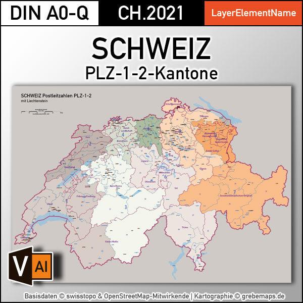Schweiz Vektorkarte Postleitzahlen PLZ-1-2 Kantone, Karte Schweiz PLZ, vector map switzerland plz-2, Vektorkarte Schweiz PLZ Illustrator, Postleitzahlenkarte Schweiz 2-stellig, AI, download, editierbar